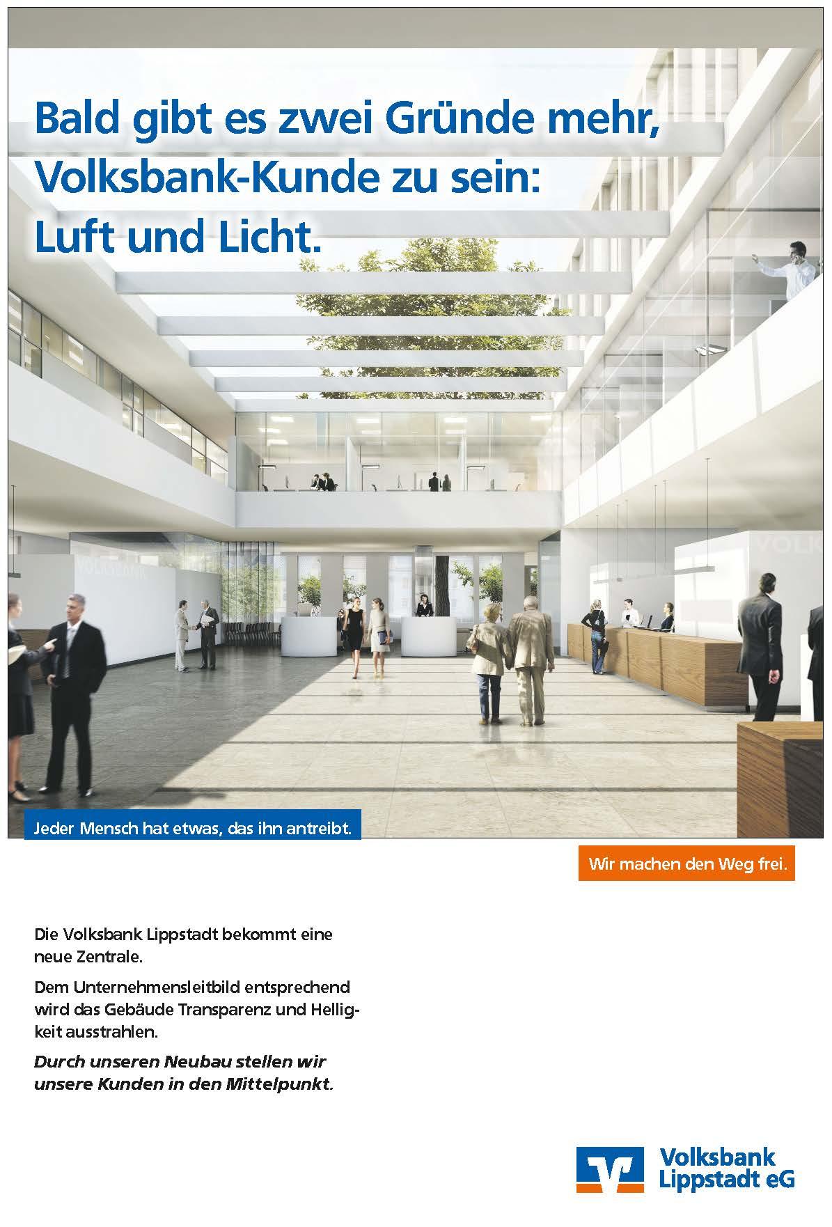 Tageszeitungskampagne der Werbeagentur für die Volksbank Lippstadt